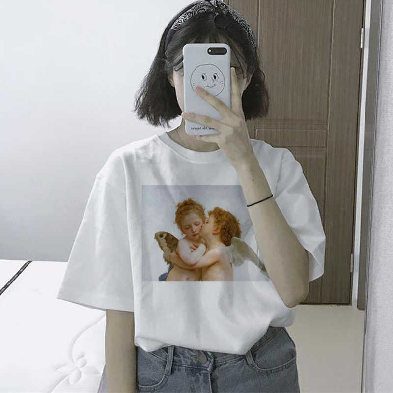 f2a62cf5e3f11 Summer Women's Casual Fashion Large Size Loose Female T-shirt Harajuku  Angel Cartoon Print Vintage funny Short Sleeve T-Shirt