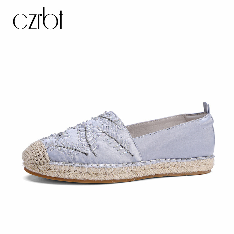 CZRBT 2018 Straw Weaving Solo Summer Shoes Women Handmade Flats Espadrilles Top Quality Ladies Loafers Slipony With Big Size