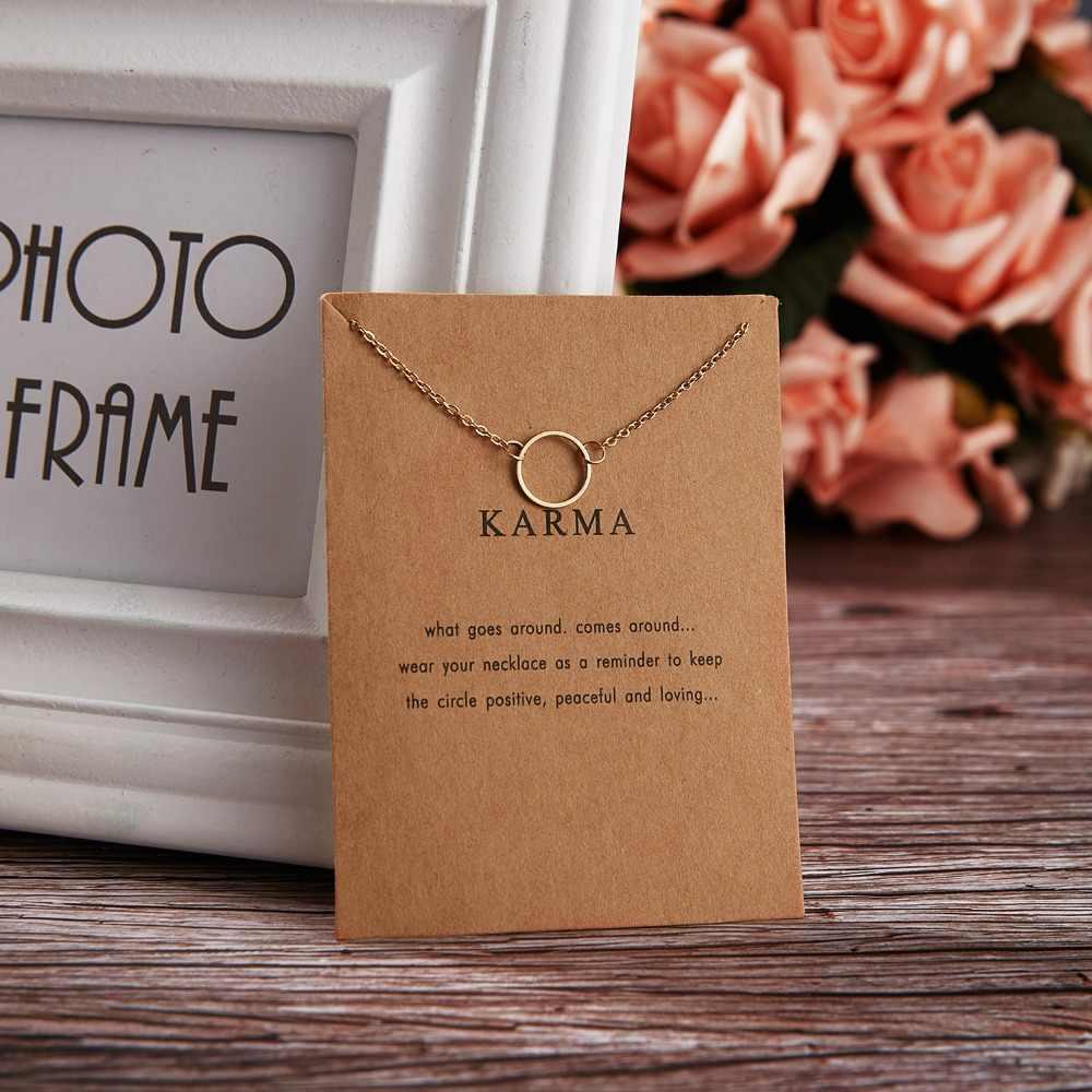 Rinhoo Karma Double chaîne cercle collier couleur or pendentif colliers mode clavicule chaînes déclaration collier femmes bijoux