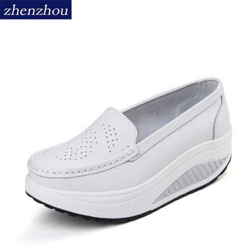 2019 Spring Summer Shake Shoes Breathable Hollow Out Single Women Shoes The Nurse's Shoes Are White And Platform Shoes Woman