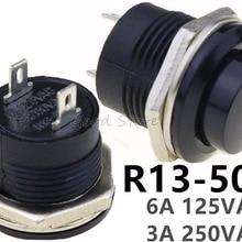 5 шт., R13-507, черный цвет, Мгновенный кнопочный переключатель выключения и сброса, 16 мм, 3 А, 250 В, переменный ток, не блокирующие переключатели, круглая кнопка