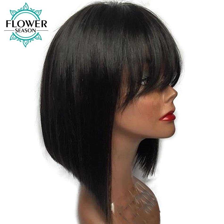 [Oulaer] 130% tankio Brazilijos ne-Remy žmonių plaukų perukai - Žmogaus plaukai (juodai)