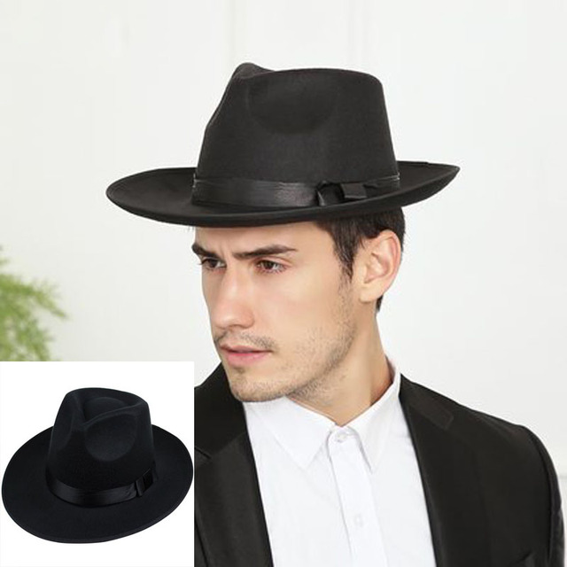 0fa826e0f44 Michael Jackson hats cosplay costume hat Classic Men s Wool Felt Godfather  Fedora Hat - Gangster Mobster Michael Jackson hats