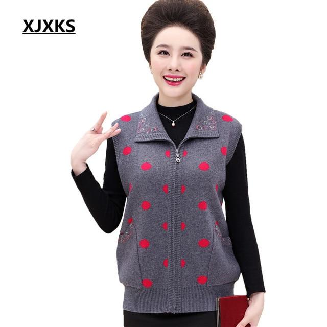 Xjxks Turn Down Collar Sleeveless Women Cardigans Sweaters Zipper