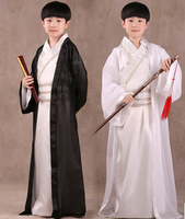 Chinese National Hanfu Black Ancient China Costume Hanfu Black White Traditional National Tang Suit Stage Cosplay