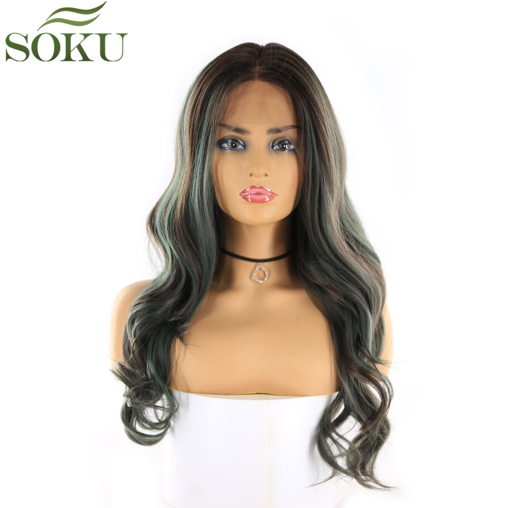 SOKU Wig Lace-Front Synthetic Black-Women 22inch Baby-Hair Heat-Resistant Wavy Fiber