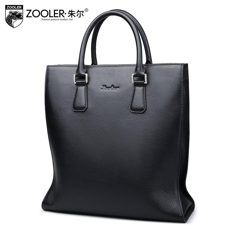 ZOOLER gentlemen genuine leather bag Handbags High Quality 100% Leather bags for businessmen luxury cowhide bag #65051 italians gentlemen пиджак