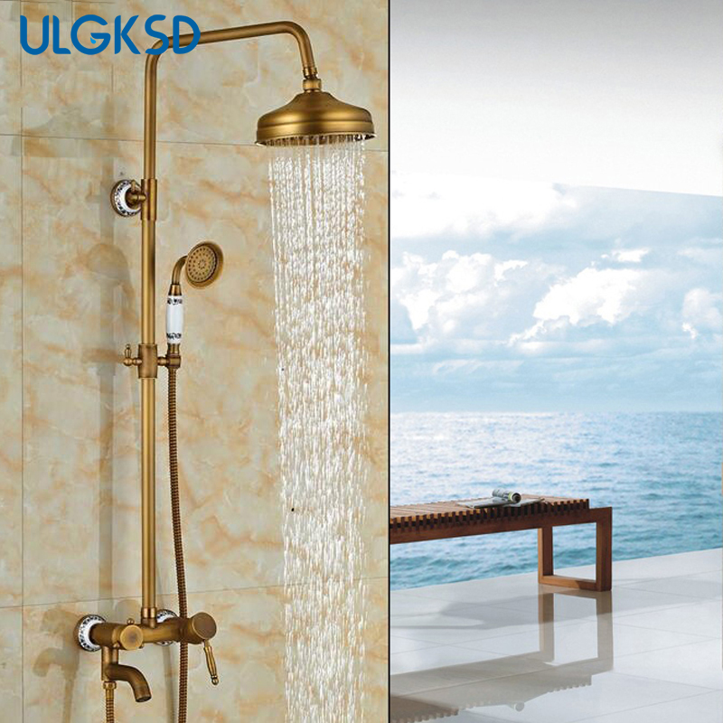 shower faucet antique brass rain shower head tub spout handshower bathtub faucets mixing valve mixer tap for bathroom luxury bathroom rain shower faucet set antique brass handheld shower head two ceramics lever bathtub mixer tap ars003