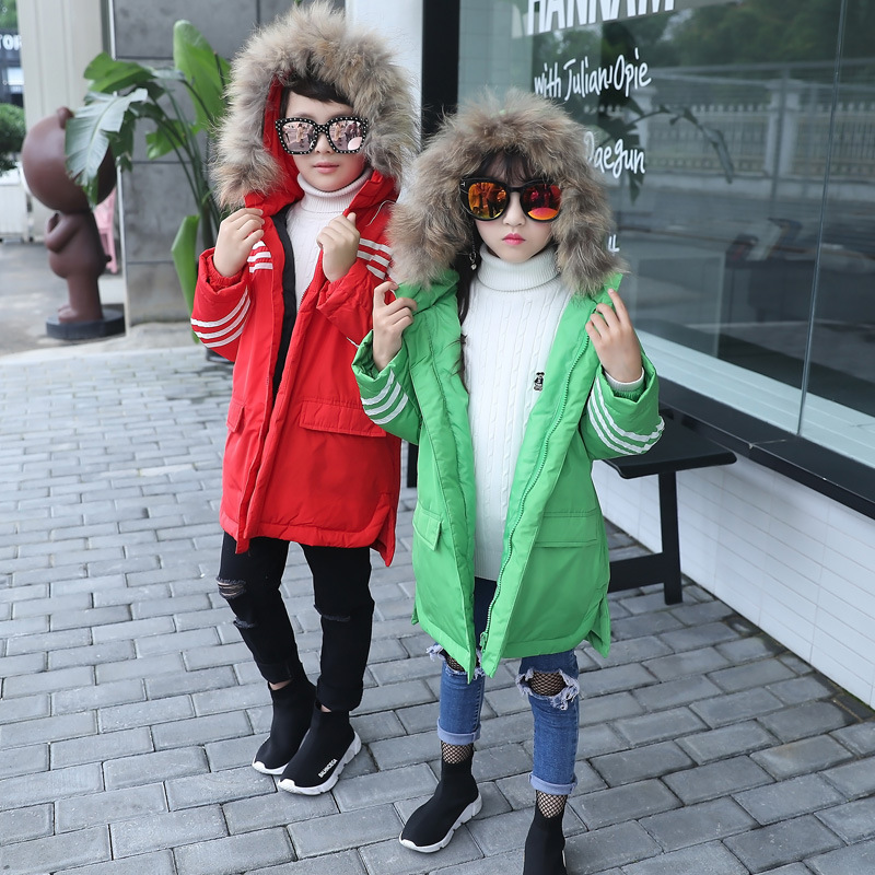 2017 Children Winter Clothes Girl Loose Duck Down Coat Kids Fur Hooded Jacket Outerwear Thicken Warm Long Style Coats For 4-12Y