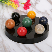 Natural Healing 7 Chakra Ball Tumbled Chakra Stones Quartz Crystals Carved Fengshui Seven Star Appetizer Plate