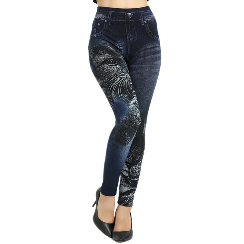 NORMOV Women Fashion Pattern Black Cat   Leggings   Casual Denim   Leggings   High Elastic Imitation Jeans Slim Seamless Pants Trousers