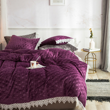 Purple Blue Pink Gray Winter Thick Flannel Bedding set Fleece Fabric Lace Duvet cover Bed Sheet/Linen Pillowcase Queen King 4pcs недорого