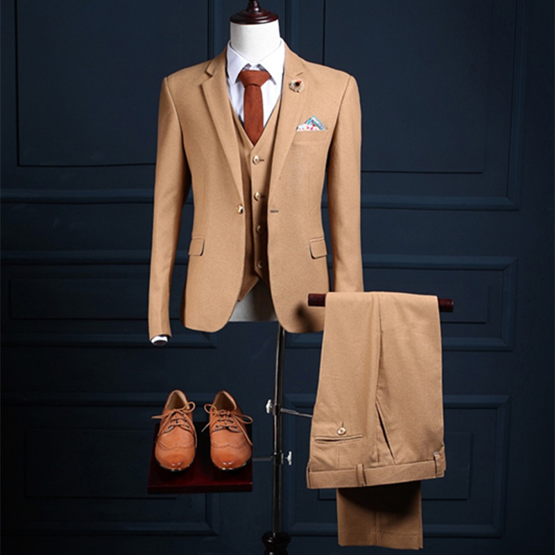 2017 szyte na miarę slim fit garnitury dla mężczyzn Brązowy Jodełkę Tweed suknię ślubną Dla man niestandardowe męskie garnitur Blazer (kurtka + Kamizelka + Spodnie)