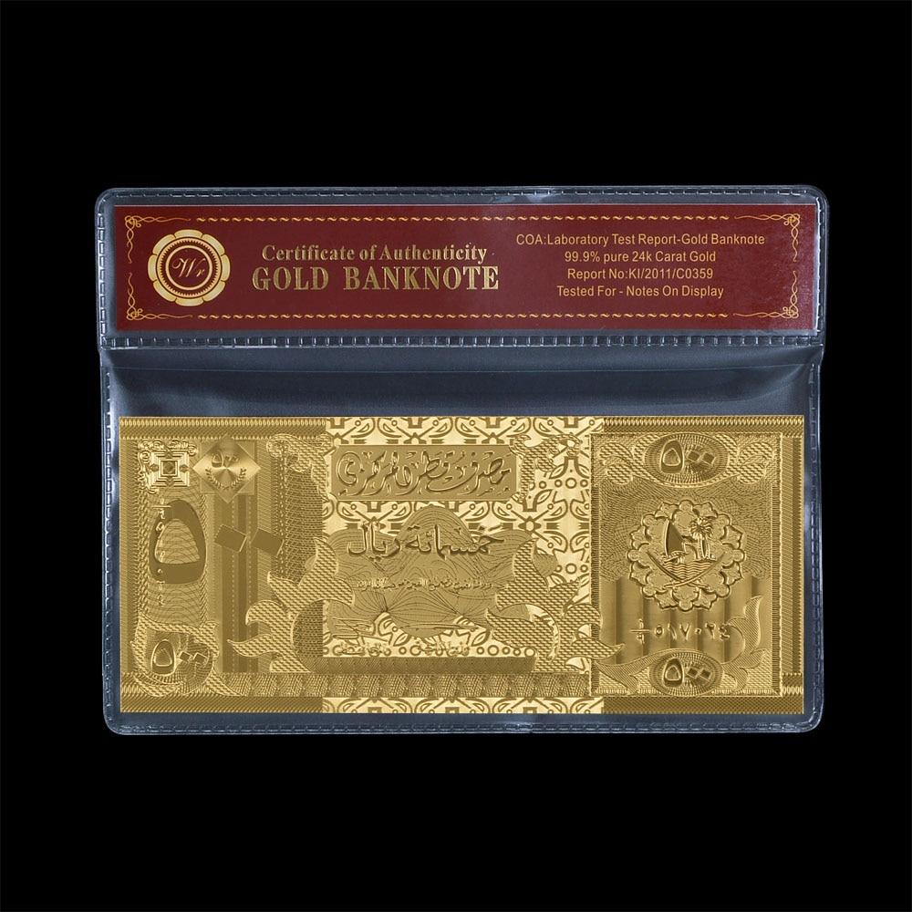 Qatar 500 Rial Notas De Ouro Chapeado Com o Ouro Com COA * New & Rare *