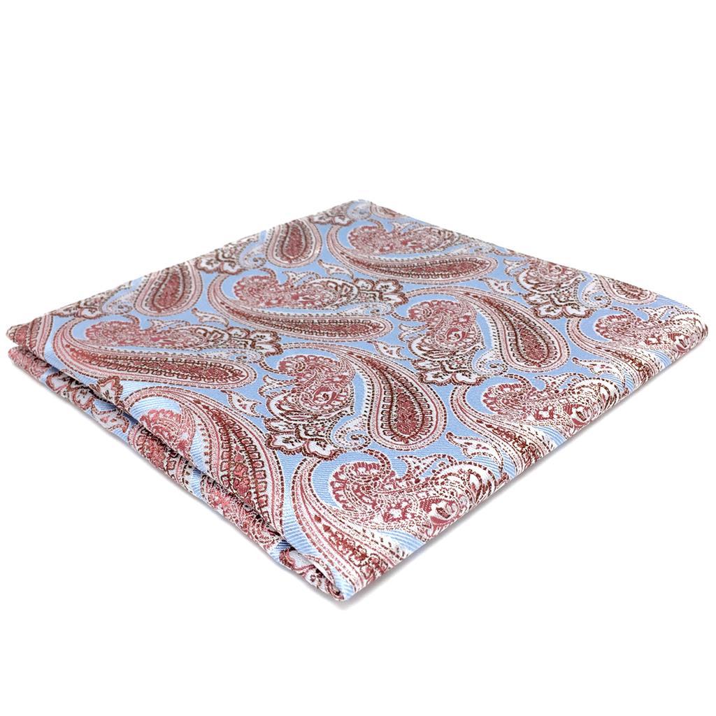 FH07 Azure Blue Pink Mens Pocket Square Fashion Designer Handkerchief Wedding Hanky