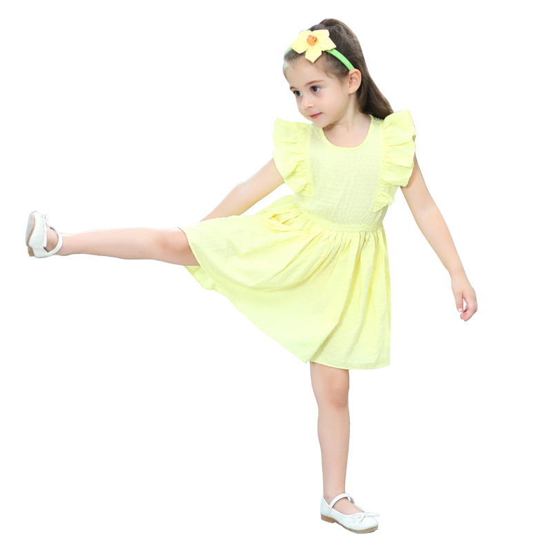2ba273a9e804 2 10 yrs baby girls cute yellow ruffle short sleeve princess dress ...