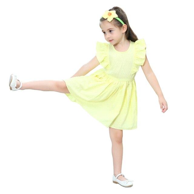 9f975359bca62 US $9.67 34% OFF|2 10 yrs baby girls cute yellow ruffle short sleeve  princess dress 2018 new summer children dresses elegant frocks for girls-in  ...