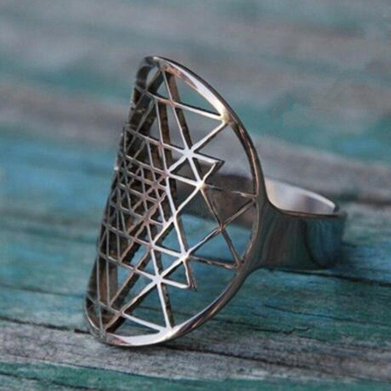 Envío Directo Sri Yantra anillos bañados en plata anillo para mujer ajustable tamaño joyería de moda