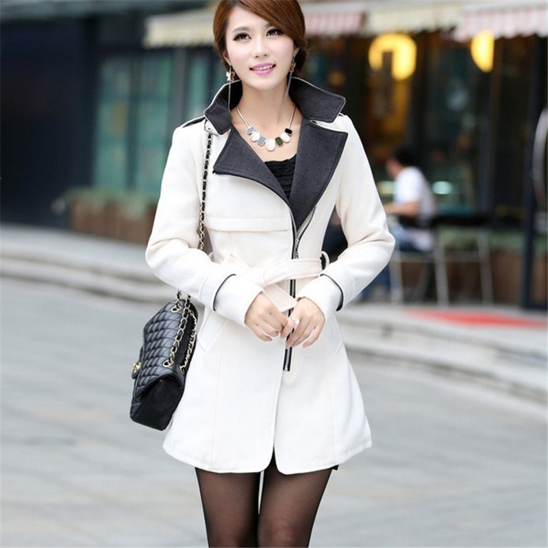 2019 Spring Autumn New Slim Long Wool   Trench   Coat For Women Stand Collar Woolen Coats With Belts Ladies Tops X407