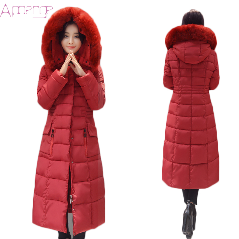 APOENGE Winter Women Cotton Jackets 2017 New Hooded Long Coat Causal Padded Parkas With Fur Collar Outwear Mujer Invierno LZ533 2017 new hooded women winter coats female winter down jackets cotton padded parkas autumn outwear abrigos mujer invierno y1488
