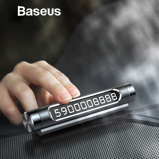 On Sale Baseus Car Temporary Parking Card Phone Holder Luminous Phone Number Plate Auto Stickers Drawer Style