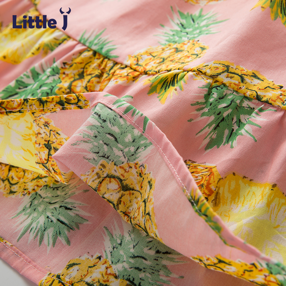 4168597e2a7 Little J Girls Tropical Pineapple Short Sleeves Off Shoulder Top+skirt Set  Shoulderless Summer Style Beach Dress With Ruffles-in Clothing Sets from  Mother ...