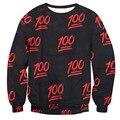 Alisister Black/White 100 Emoji Hoodie women/men Print 3d Hoodies Casual long-sleeved Tops Crewneck Mens 3d Sweatshirt