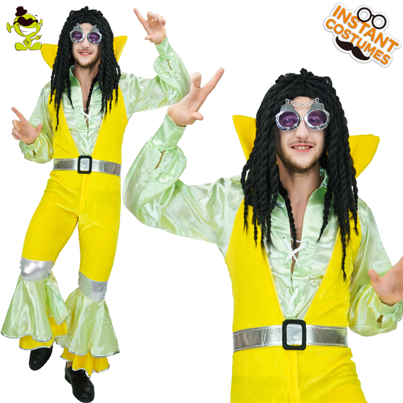 Adult Man 1970's Hippie Costumes Imitation Parties Cosplay Male Hippie Clothing Fancy Dress Carnival Party Man  Hippie Costumes