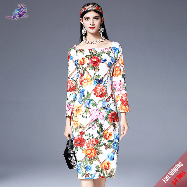 f0a249a7f50 High Quality New 2018 Fashion Designer Runway Dress Women s Long Sleeve  Elegant Flower Floral Print Appliques Dress Free DHL