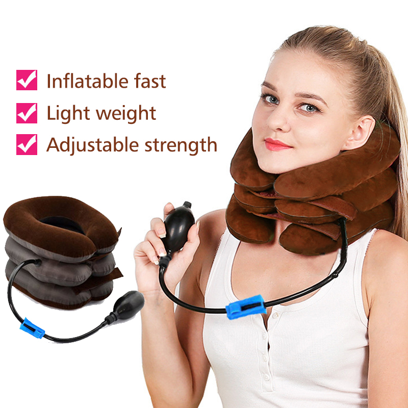 KONGDY Manually Inflatable Cervical Traction Device Three-tier Neck Stretching Appliance Cervical Spondylosis Neck Care Collar adult cervical traction apparatus inflatable support fixed tuohu neck with neck stretching his neck