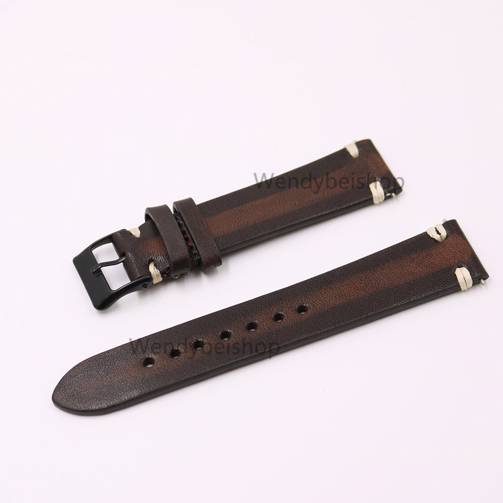 CARLYWET 20mm Wholesale Man Women Handmade 3mm Thickness Leather Two Tone Brown VINTAGE Wrist Watch Band Strap Belt Black Buckle metting joura vintage bohemian ethnic brown seed beads braided knitted flower handmade elastic belt body jewelry