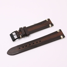 CARLYWET 20mm Wholsale Man Women Handmad 3mm Thickness Leather Two Tone Brown VINTAGE Wrist Watch Band Strap Belt Black Buckle
