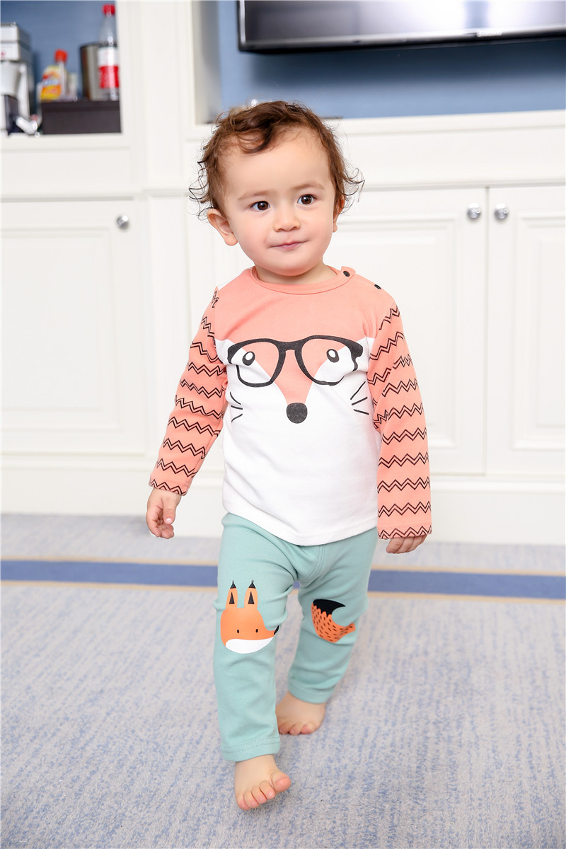 Hot sale Pullover baby Boys Girls Clothes Long Sleeve Cartoon fashion cotton Babys Sets MAY1-MAY6