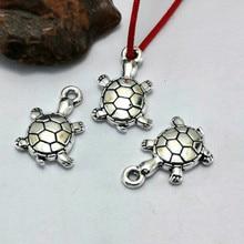 TJP 20 pcs Antique Silver Tone Tortoise Turtle Charms Pendants for DIY Bracelets Necklaces Jewelry Making Findings 18x11mm