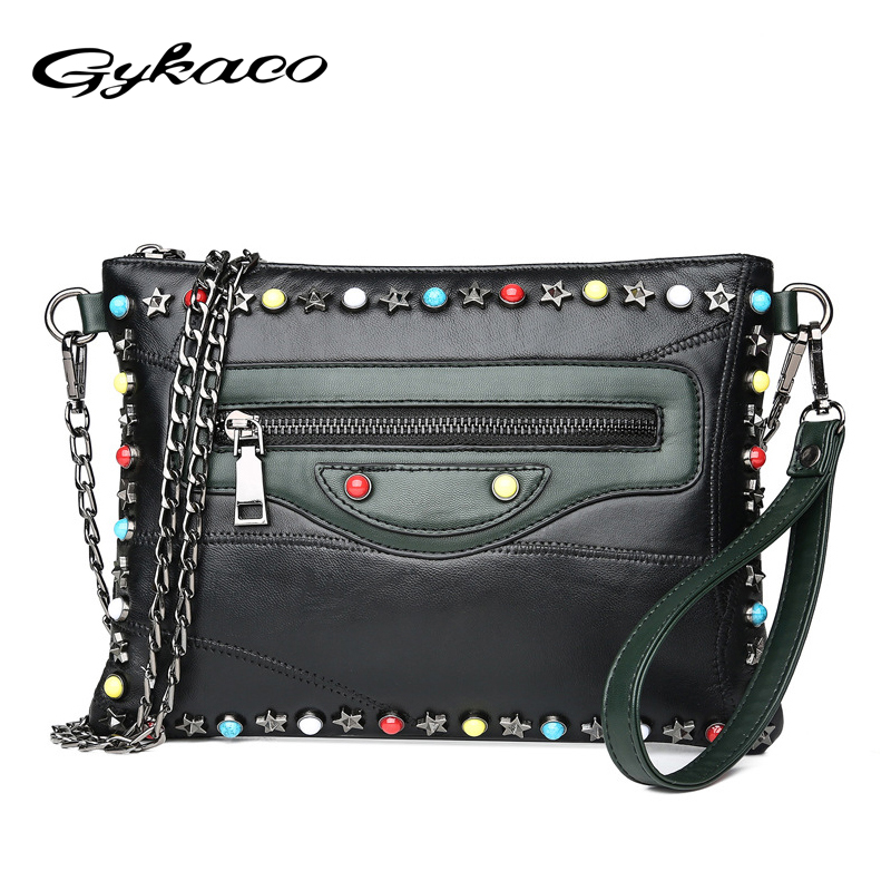 Gykaeo Genuine Leather Small Shoulder Bag Female 2018 Winter Chain Rivet Evening Clutch Envelopes Bags for Women Messenger Bag 1