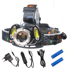 8000 Lumens High Power LED Headlamps 2×18650 Long Range Head Torch Light T6+COB Zoomable LED Headlight Waterproof Head Lamp