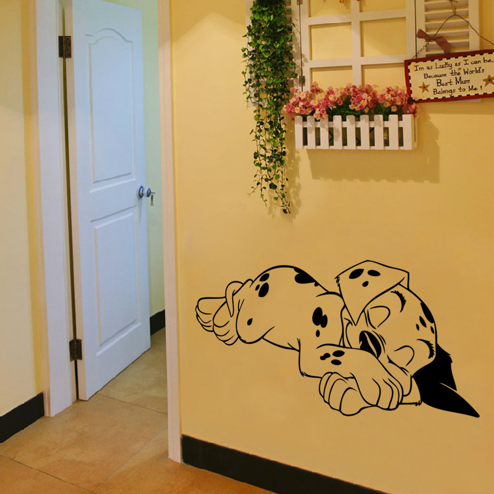 Diy Cute Sleeping Spotty Dog Decorative Vinyl Wallpaper Kids Wall ...