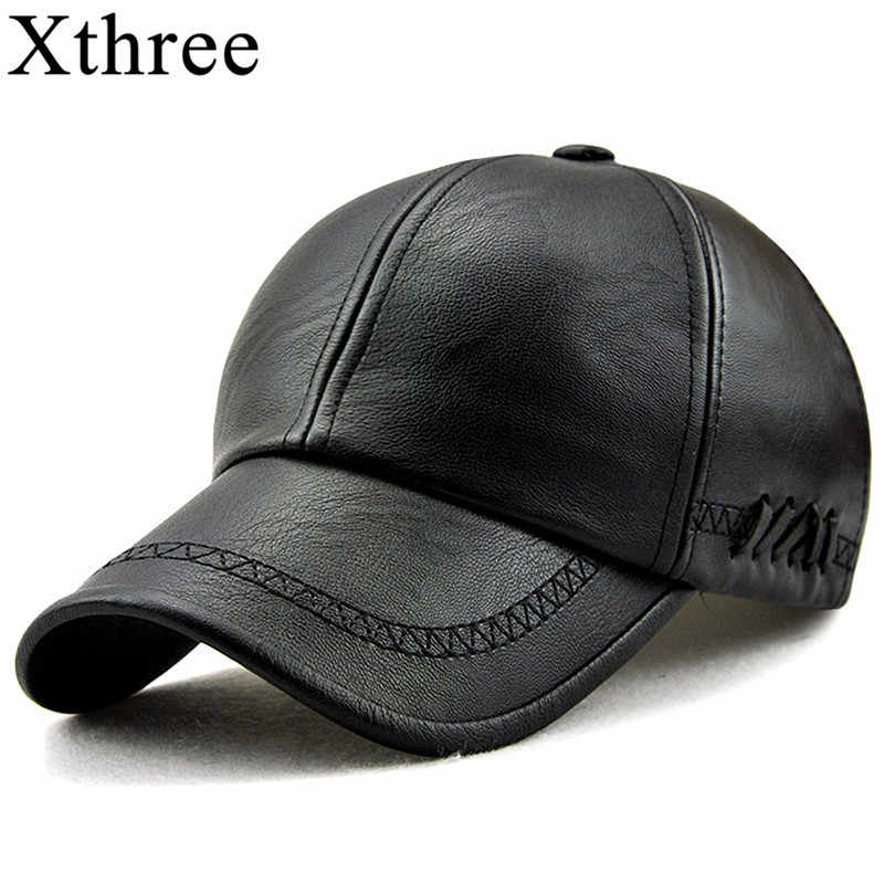 9e677dce3a2 Xthree New fashion high quality spring winter Faux leather baseball cap for  men casual moto snapback