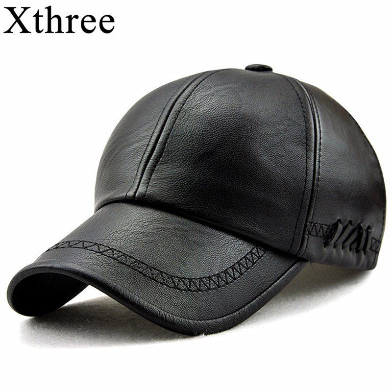Xthree New fashion high quality spring winter leather baseball cap for men casual moto snapback hat men's hat Cap wholesale hl083 new new fashion men s scrub genuine leather baseball winter warm baseball hat cap 2colors