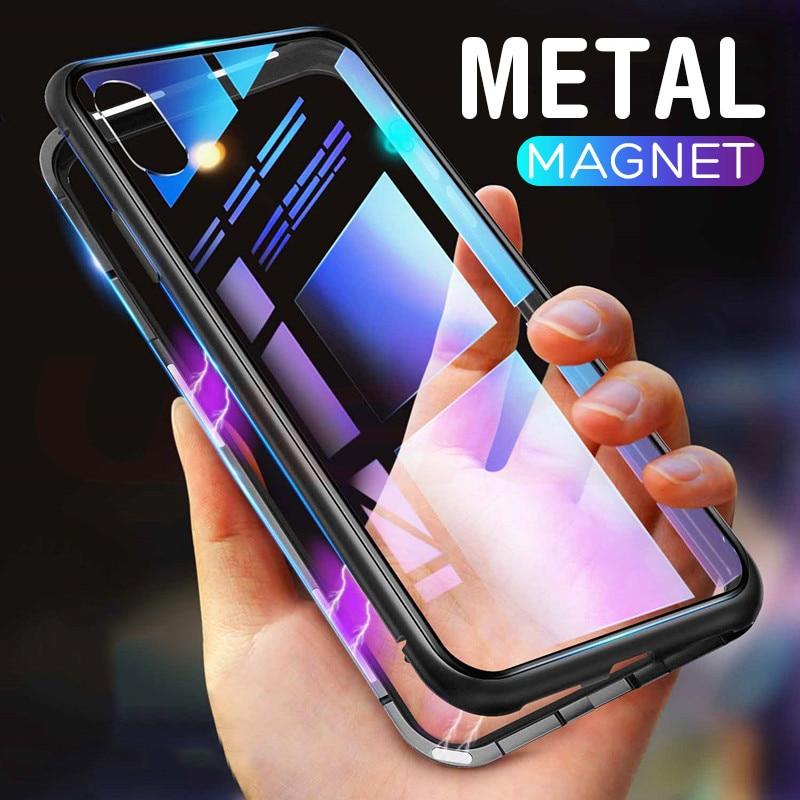 Étui pour iPhone XR XS MAX X magnétique en métal trempé étui pour iPhone X XS XS MAX