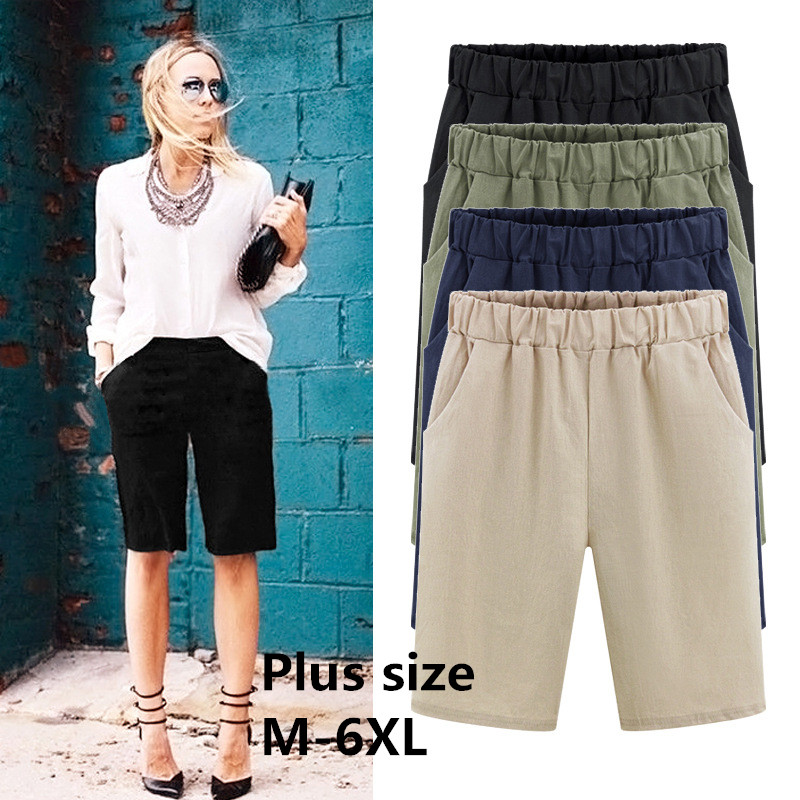 2019 Summer large size women   shorts   Loose Cotton Solid Color casual   shorts   Female plus size 6XL   short   pants