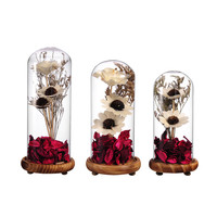 Crystal Seal Vase Dried Flowers Terrarium Home Decor Glass Terrariums Plant With Bamboo Bottom Micro Landscape