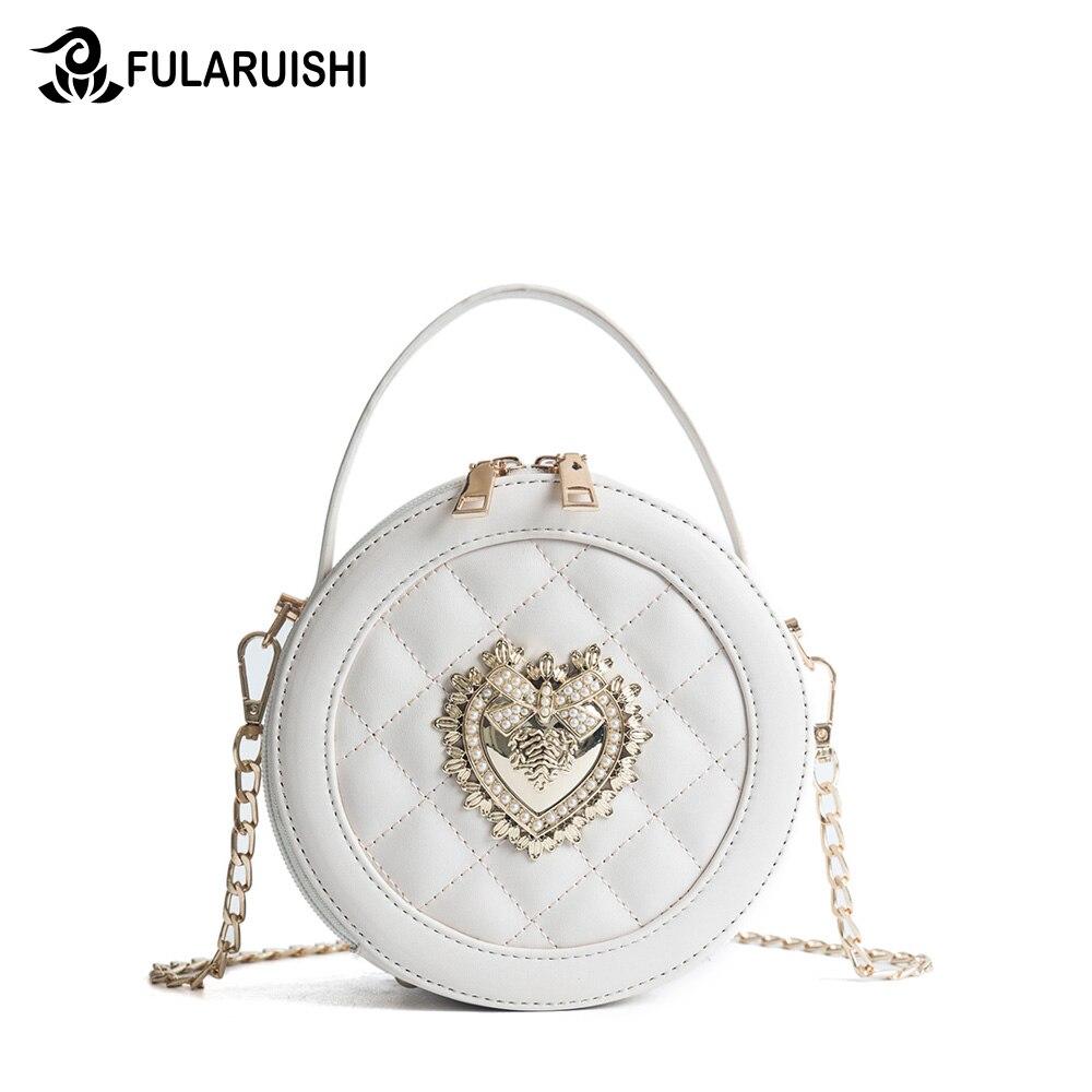 Fularuishi 2018 Summer Female Women Messenger Bag Korean Edition Fashion Small Round Bag Mini Bag Circular Shoulder Bag