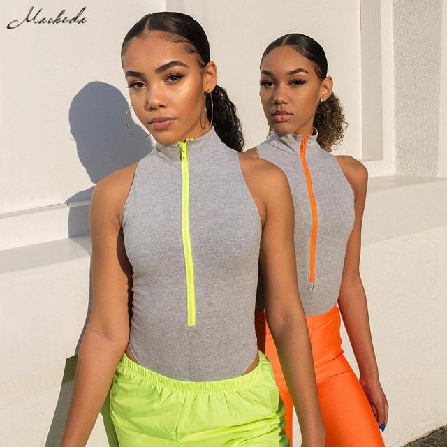 Macheda Women Casual Turtleneck Zipper Sleeveless Slim Skinny Bodysuits  Spring Summer Fashion Ladies Bodysuit 2019 New Arrival b854af0fa