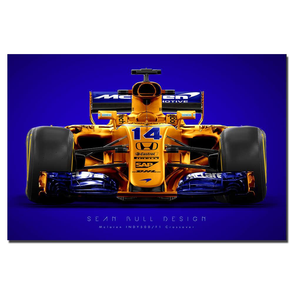 Mclaren F1 Araba Yarisi Posteri Tuval Boyama Dekorasyon Icin Duvar