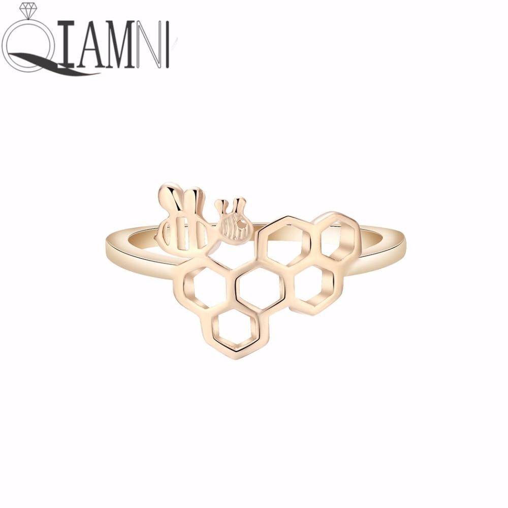 QIAMNI Trendy Geometric Polygon Molecular Cute Honeycomb Beehive Hive Bee Honeybee Animal Finger Ring For Women Birthday Gift