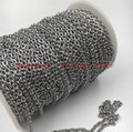 in bulk 10meter/lot   Silver Shiny Stainless steel 3mm embossing  joint Oval Link Chain jewelry Finding Marking Chain DIY