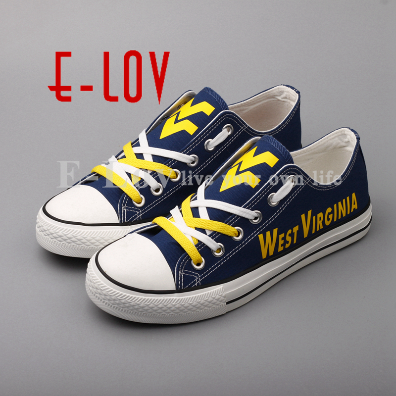 E-LOV 2018 Hot Sale Print Canvas Shoes West Virginia Mountaineers Print Shoes Color Lace Low Top Casual Shoes Drop Shipping e lov women casual walking shoes graffiti aries horoscope canvas shoe low top flat oxford shoes for couples lovers
