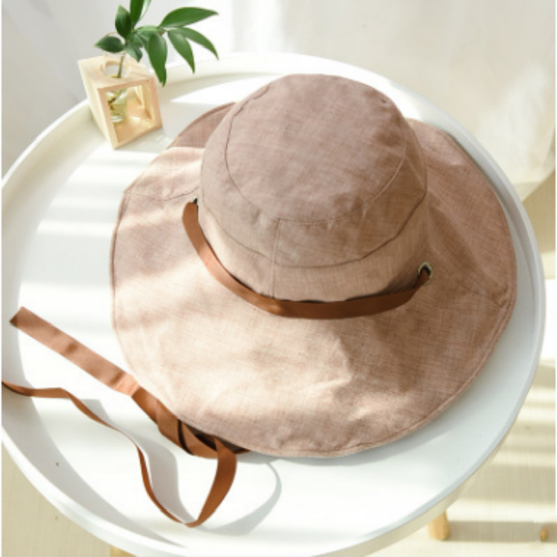 b4f2b882 Wide Brim Reversible Bucket Hat With String Cotton Two Side Striped Fishing  Cap For Women Foldable Large Brim Summer Sun Hat-in Bucket Hats from  Apparel ...