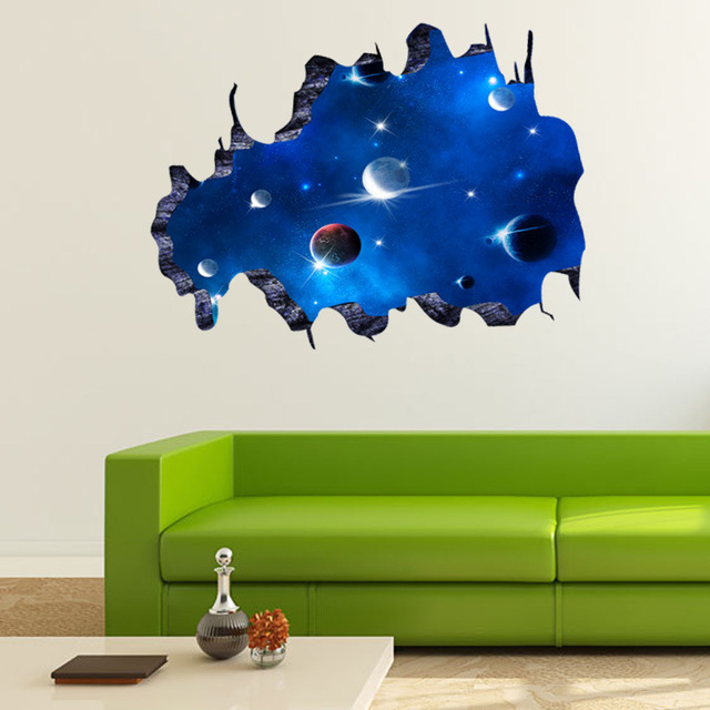 3D Outer Space Astronaut Wall Art Decal for Kid Room Spaceman Planet ...
